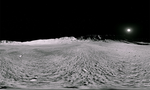 A 360-degree panoramic simulation of the lunar surface taken by NASA Frontier Development Lab